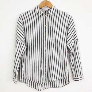 UO Twill Oversized Striped Button Down Shirt